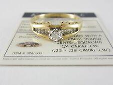 BEAUTIFUL LADIES KEEPSAKE 14K DIAMOND ENGAGEMENT RING W/COA 4.5G 1/4CT