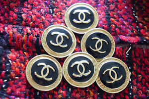 100-Authentic-Chanel-Buttons-logo-cc-black-6-pieces-26-mm-1-inch