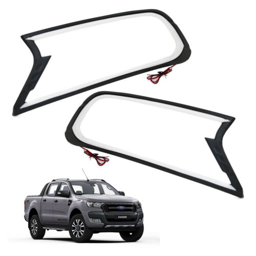Matte Black LED Head light lamp Front Cover Trim FORD RANGER T6 Px2 2015 2018