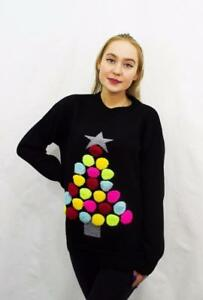Ladies 3D Knitted Multi Colour Pom Pom Merry Christmas Novelty Reindeer Jumper