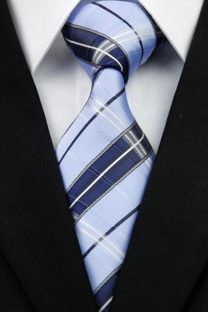 NT307 Classic JACQUARD Woven Blue Navy Stripe 100%Silk Men's Necktie Tie