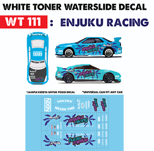 Details about WT111 White Toner Waterslide Decal> ENJUKU RACE >For Custom  1:64 Hot Wheels