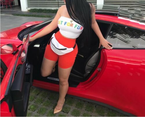 USA TWO Piece Set Women Lady Bra Tube Crop Top+Shorts   Tracksuit Outfit #J2