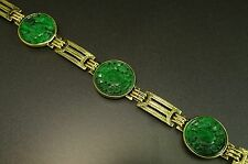14K Yellow Gold Carved Green Jade Disk Station Asian Bracelet
