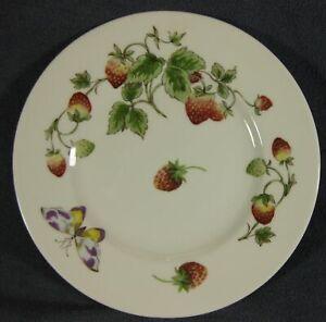 Coalport-Strawberry-Salad-Plate-8-1-8-034-Smooth-Bone-China-England-Butterflies