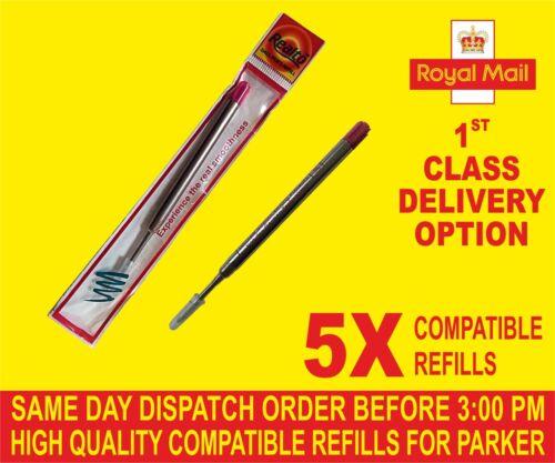 Qualità 5 x Parker Compatibile Ampia Ricariche per a Sfera Rosso Medio