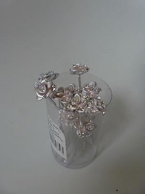 12 Pz Sposa Prom Rosa Con Cristalli Fiore Per Capelli Piedini, Bastoncini.-mostra Il Titolo Originale Prodotti Di Qualità In Base Alla Qualità