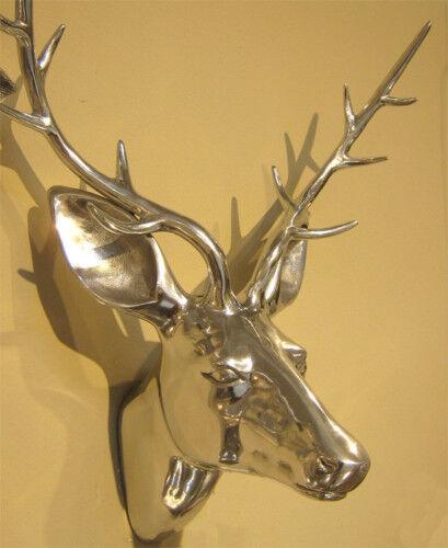 Brillant Tête de cerf en aluminium 50 cm de Mars & More Argent Cerf Bois NEUF