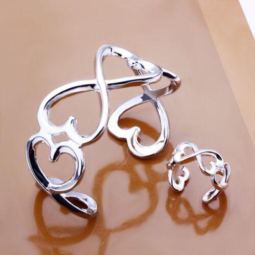 925 Sterling Argent Grand Coeur Femmes Accessoires Cuff Bracelet Ring Set YS238