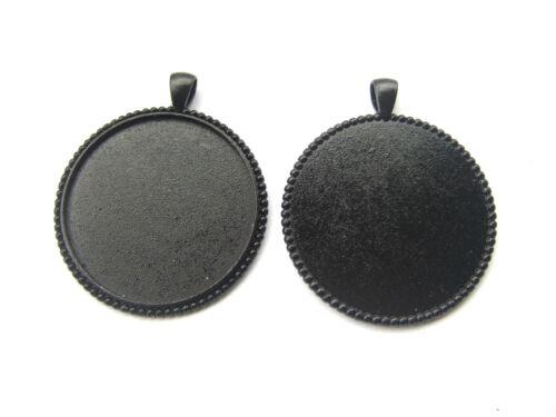 10 Dark Black 40mm Round Large Pendant Trays Blank Bezel Cameo Cabochon Setting