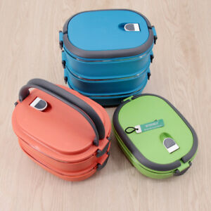 1953295d9 1-3 Layer Tier Stainless Steel Thermal Insulated Stackable Lunch Box ...