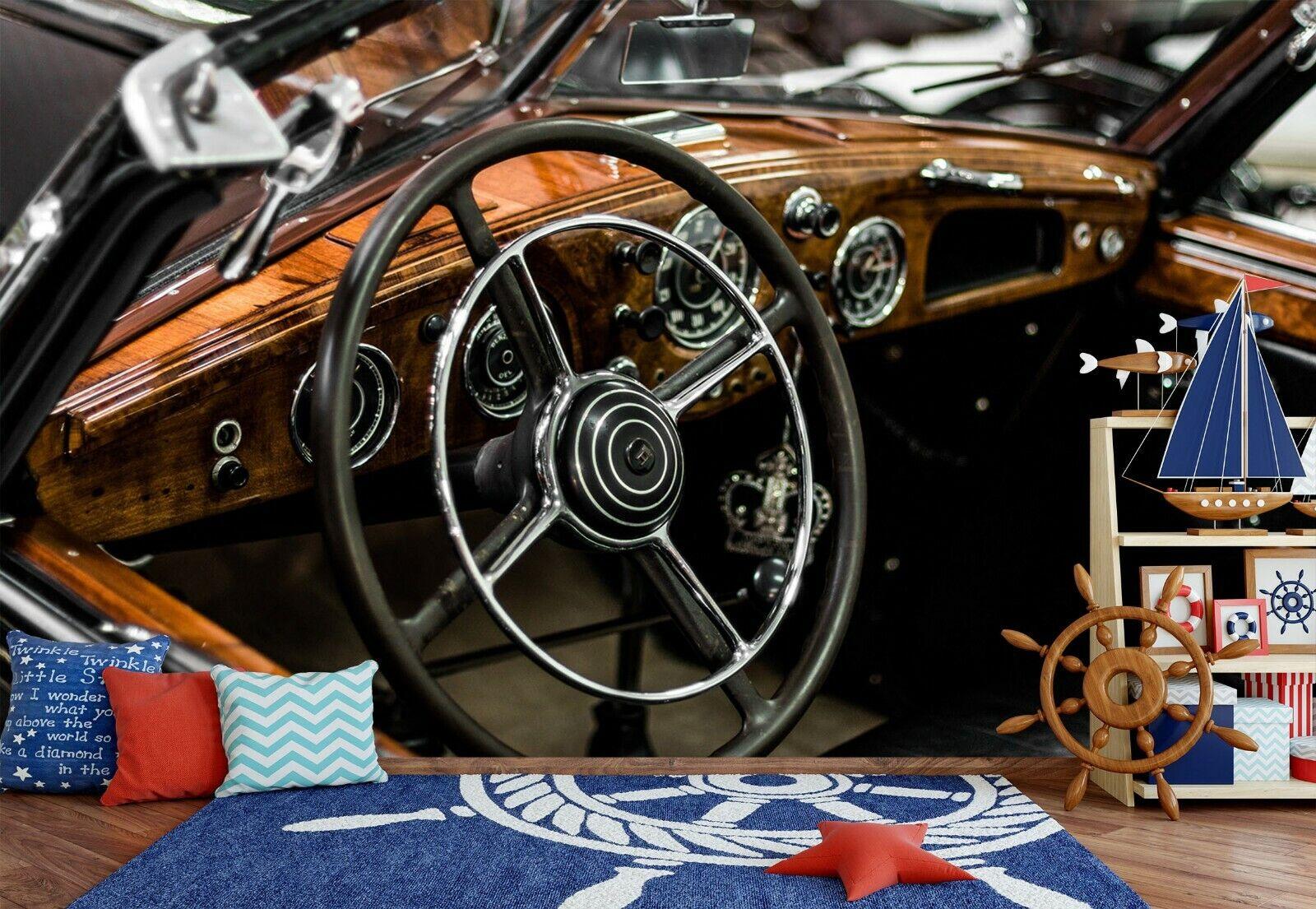 3D Schwarzes Auto O14 Auto Tapete Wandbild Selbstklebend Abnehmbare Angelia
