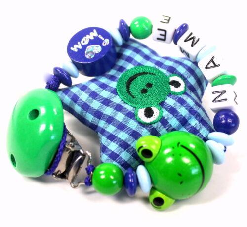 Schnullerkette mit Namen Frosch Love Mom Dad Junge blau grün