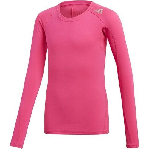 new design buy online official site adidas Big Girls Large Climawarm Bright Pink Long Sleeve Shirt ...