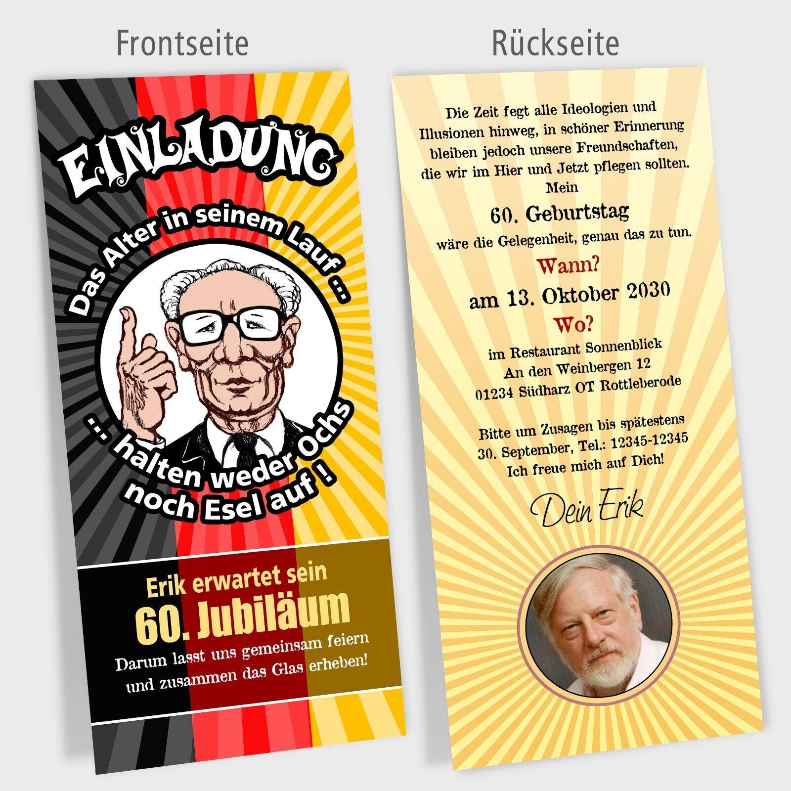 Einladungskarte Geburtstag Politiker Cartoons Modell Erich personalisiert