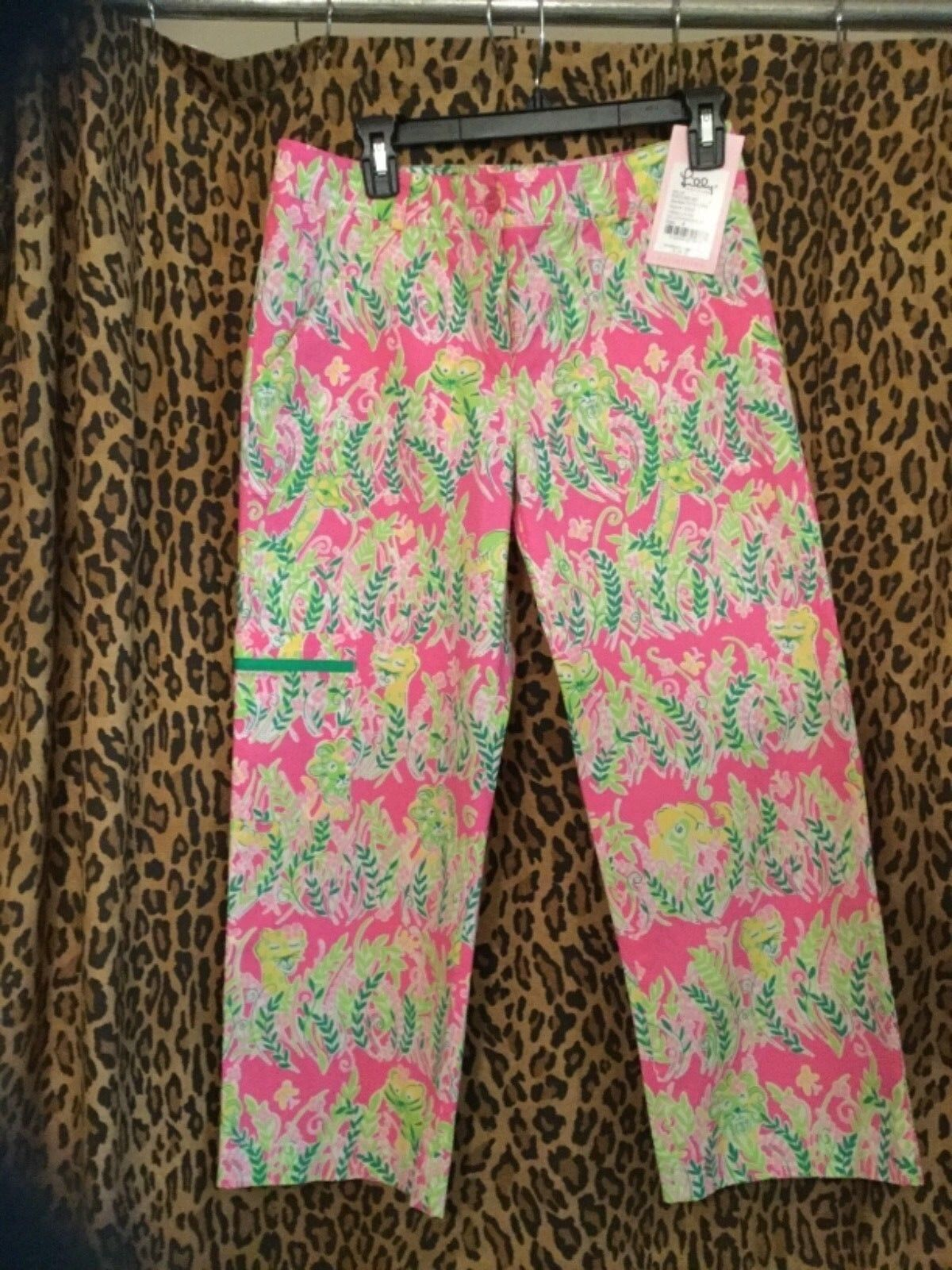 Nwt Lilly Pulitzer Womens Lilly Capri Pants Hibiscus Pink Millionaires sz 6  140