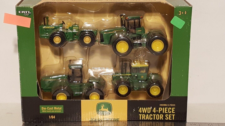 Ertl John Deere 4WD 4-PIECE TRACTOR SET 1 64 diecast metal farm tractor replica