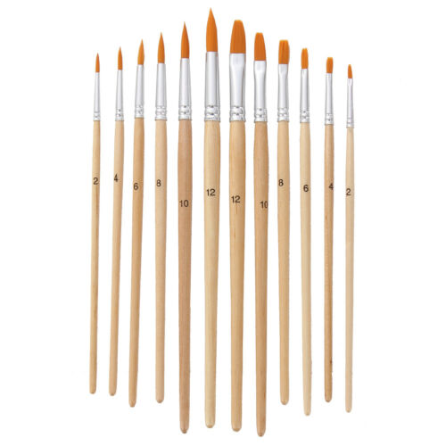 AM/_ LK/_ HK 12 Pcs Artist Paint Brushes Hair Watercolor Acrylic Oil Painting Too