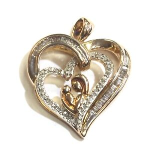 925-Sterling-Silver-White-Gold-Plated-21ct-VS-G-diamond-mother-child-pendant-4g