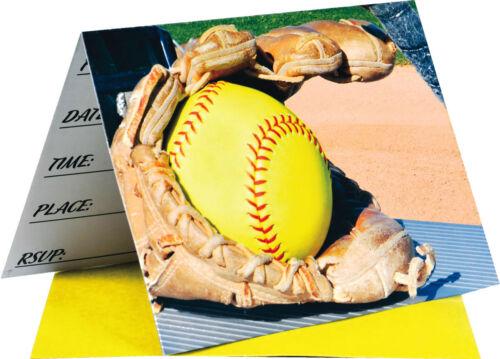 Fastpitch Softball Party Invitations Girl/'s Sports Birthday Pre-Printed