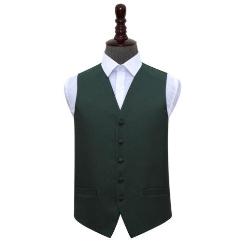 DQT Woven Greek Key Patterned Dark Green Formal Mens Wedding Waistcoat S-5XL