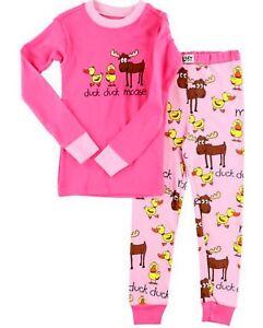 fc38d1efe26c Lazy One Girls PJ Pajamas Sleepwear DUCK DUCK MOOSE Pink SIZE 6