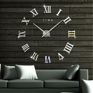 DIY-3D-Large-Wall-Clock-Roman-Numeral-Metallic-Mirror-Stick-On-Clock-Home-Decor