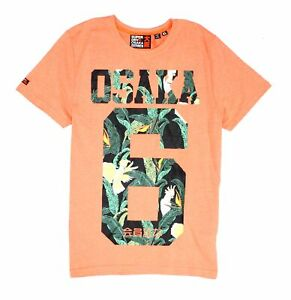 Superdry Mens T-Shirt Orange Size Medium M Osaka Tropical 6 Graphic Tee $29 011