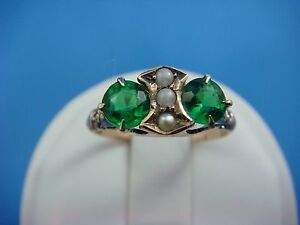 !ANTIQUE LADIES RING WITH SEED PEARLS AND GREEN STONES 10K ROSE GOLD SIZE 5.75