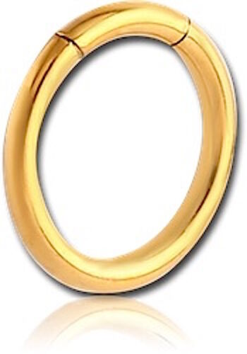 1.6mm SMOOTH GOLD PLATED SURGICAL STEEL 316L SEGMENT RING GUAGE 1.2mm