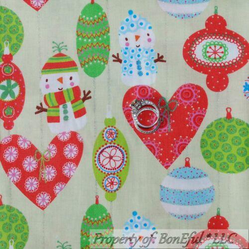 BonEful FABRIC FQ Cotton Quilt Green Xmas White Pink Glitter Dot Snow*Flake Man