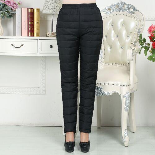 Women Duck Down Pants Sweatpants Winter Warm SKI Bottoms Casual Long Trouser 4XL