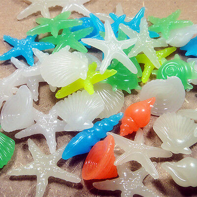 20pcs Glow In The Dark Starfish Shell Stone Garden Aquarium Fish Tank Decor