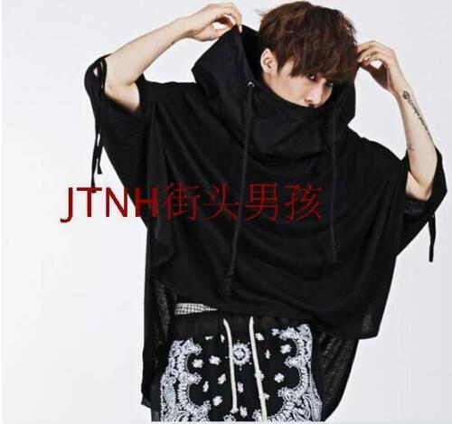Punk Mens Hooded T-Shirt Loose Gothic Tassels Batwing-Sleeved Blouse Tee Tops 03