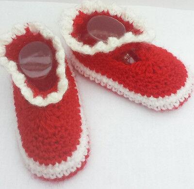 Baby Ballerina Schuh gehäkelt/OmaEle 10 cm Sohle/Gr.17-19 für Fans in ROT-WEISS
