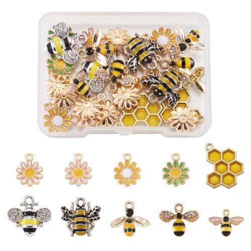 28pcs Mixed Alloy Enamel Bees Pendants Daisy Cute Metal Charms Crafting 12~21mm