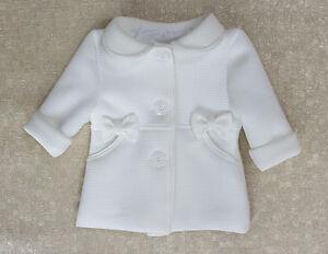91641538a Baby Girls Coat Cream Christening Baptism Party Elegant Jacket 0 M ...