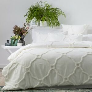Renee-Taylor-Moroccan-100-Cotton-Chenille-Tufted-Quilt-Cover-Set-Blanc