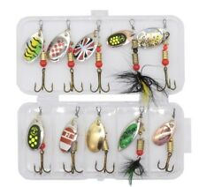 Lot 4pcsMixed Color Spinner Fishing Lures Hook Bass Cod Fish Bait Skirt Tackle