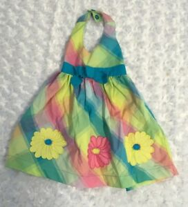 Blueberry Boulevard Floral Plaid Multi Girls Halter Style Dress Daisy Size 12 M