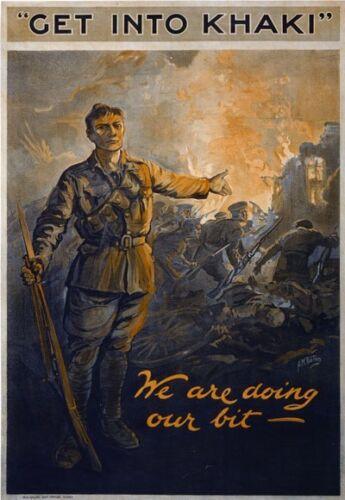 WA63 Vintage Australian Get into khaki War Recruitment Poster WW1 A1//A2//A3//A4