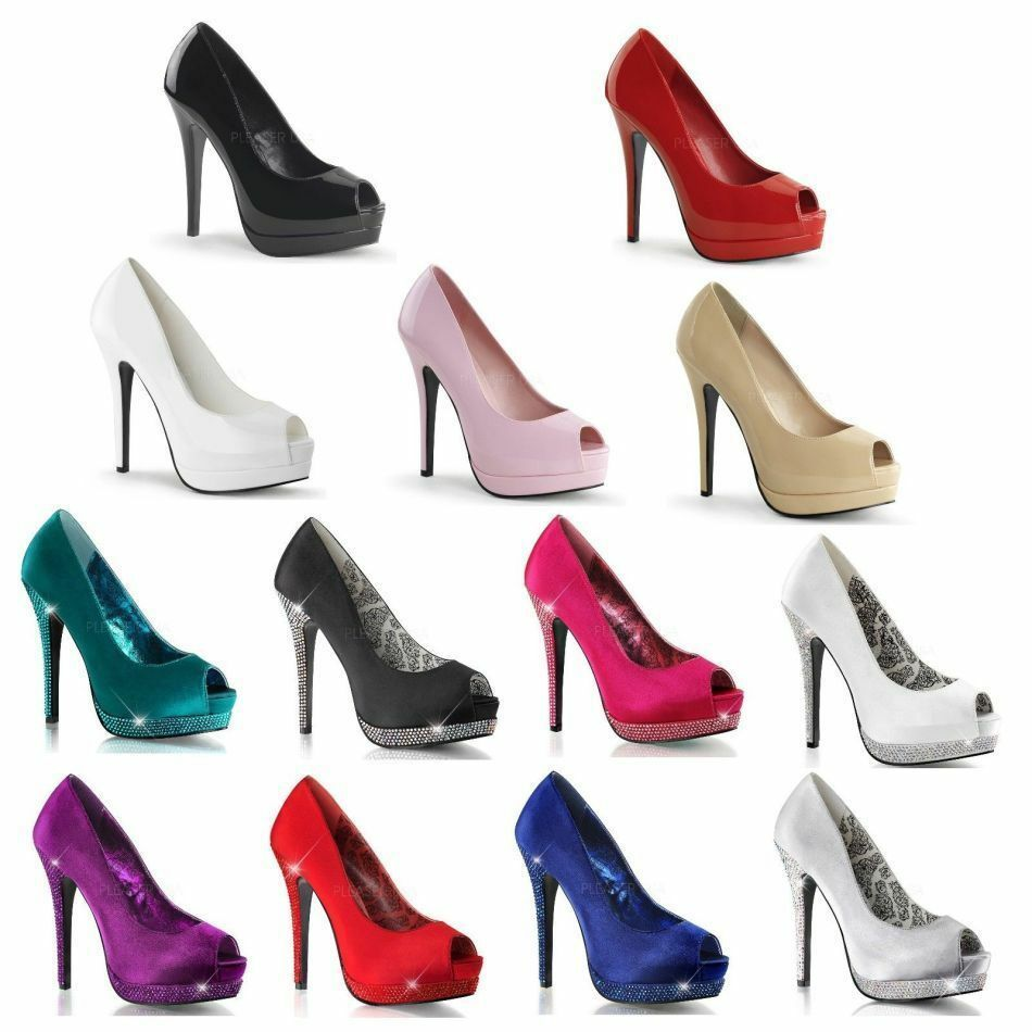 PLEASER BELLA 12 HIGH PATENT HEEL PLATFORM PEEP TOE PATENT HIGH OR SATIN Schuhe SIZE 3-9 1369e5