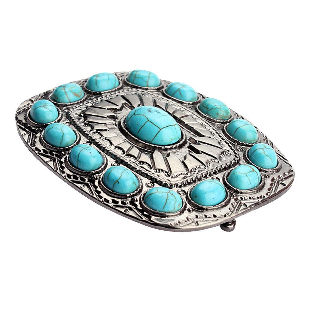 Vintage Antike Silberne Türkisfarbene Gürtelschnalle Westernschnallen für