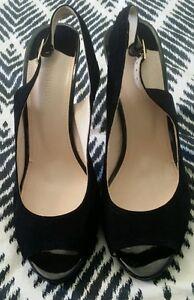 WITCHERY-Black-Leather-Suede-Sling-Backs-Pumps-Heels-Stilettos-EU-41-B49