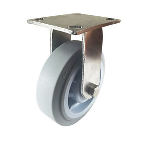 "6"" X 2"" Stainless Steel Non-Marking Rubber Wheel Caster - Rigid (Flat)"