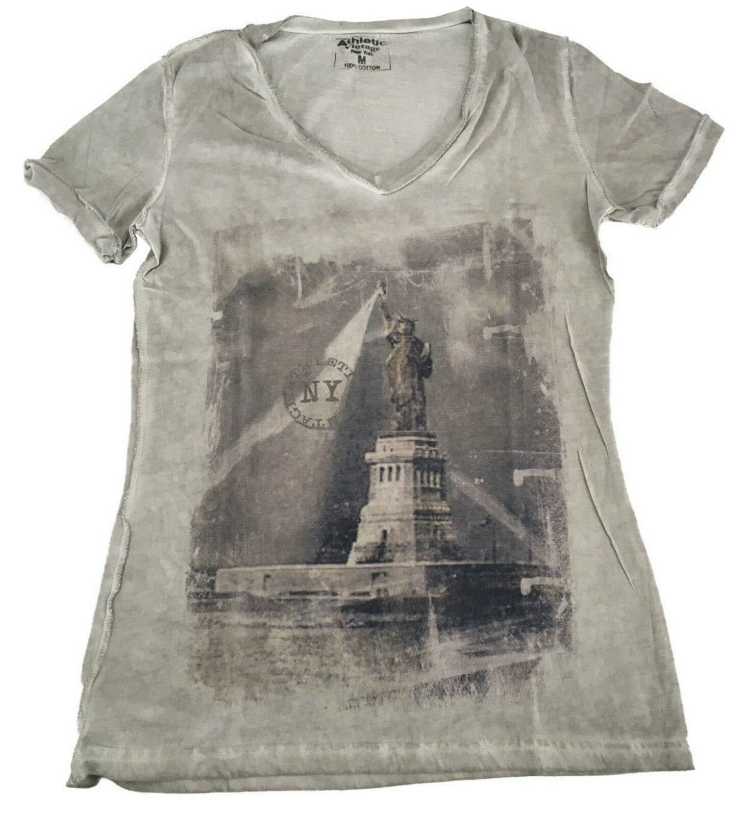 ATHLETIC VINTAGE NEW YORK T-Shirt Kurze Ärmel 100% Baumwolle MADE IN ITALY