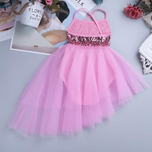UK Kids Girls Ballet Dress Lyrical Sequin Ballerina Dancewear Tutu Skirt Costume