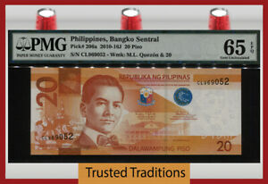 TT PK 206a 2010-16J PHILIPPINES 20 PISO M.L. QUEZON PMG 65 EPQ GEM UNCIRCULATED!