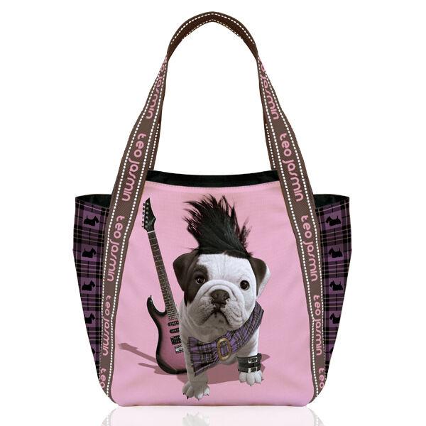 8d89cd9ca14b5 Teo Jasmin French British English Bulldog Large Tote Handbag Shopper  Shopper Shopper Punk