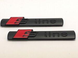 2-Logo-S-LINE-Embleme-en-Metal-Noir-mat-rouge-Pour-marque-AUDI